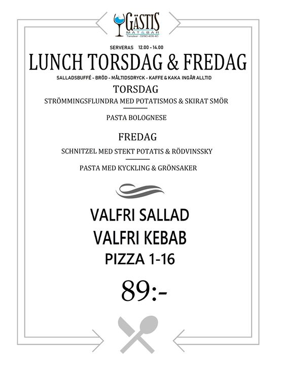 Lunch Torsdag & Fredag på Gästis