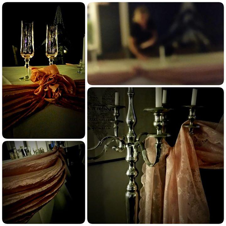 Igår förberedde vi dukningen inför dagens bröllopsmottagning (abonnerat från idag!)