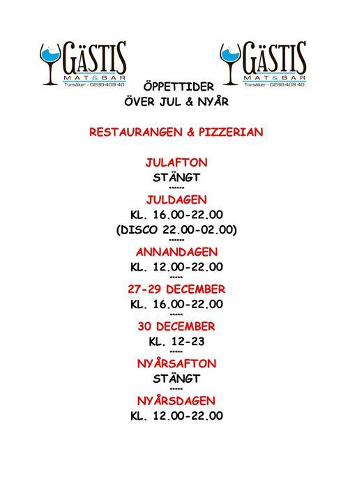Våra öppettider över jul och nyår