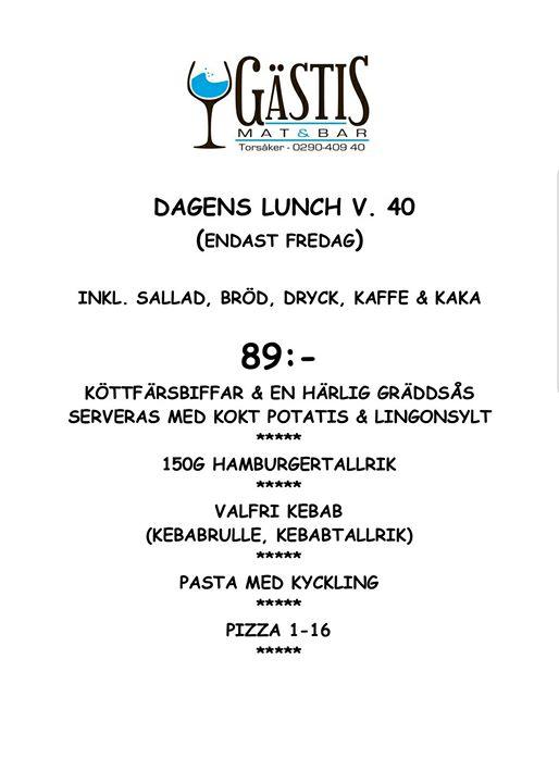 Välkomna att avnjuta fredagens lunch hos oss