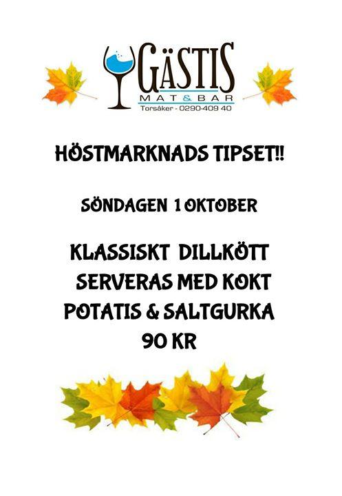 Lite information inför Helgen på Gästis. Lördagen 30 september är restaurangen Abonnerad från !…