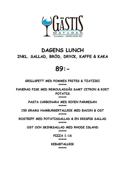 Här kommer våran ljuvliga lunch meny för v. 34 Välkomna !!