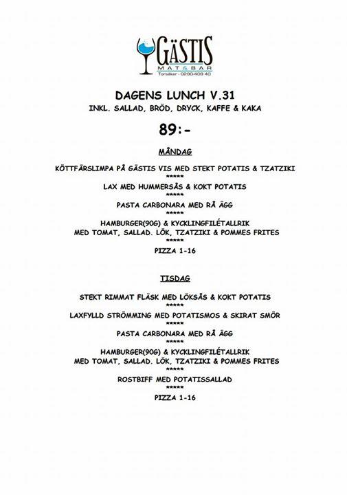 Här kommer lunch menyn för Välkomna till oss!