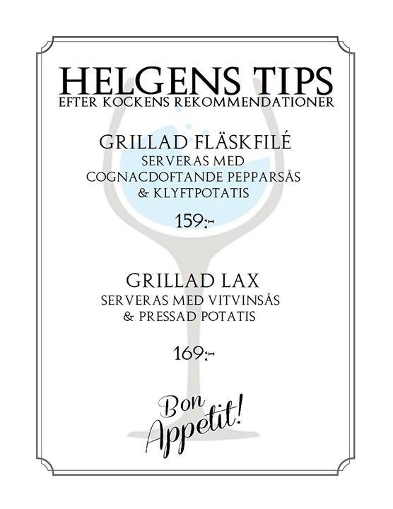 Helgens Tips med rekommendationer från kocken. Gäller 1-2-3 februari. Boka bord via PM eller…